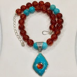 DtR Jay King Sterling Amber & Turquoise Necklace